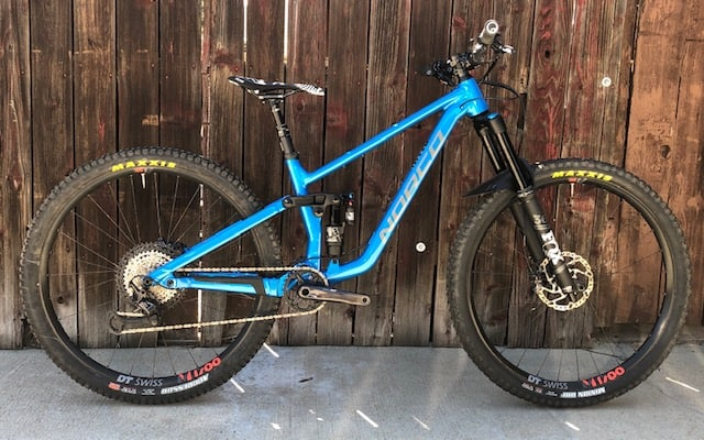 Side view of Norco Sight Medium Blue Demo Mountain Bike