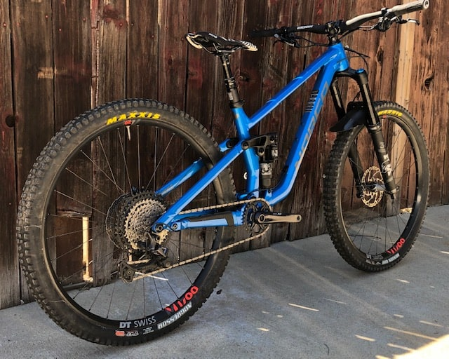 Angle view of Norco Sight Medium Blue Demo Mountain Bike